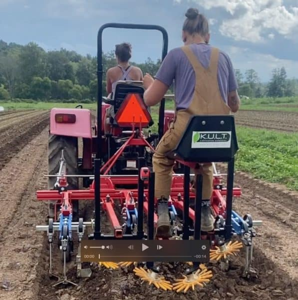 Employees on tractor