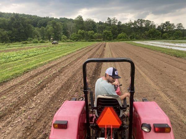 Employee on Tractor